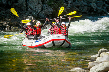 A group of co-workers during a rafting