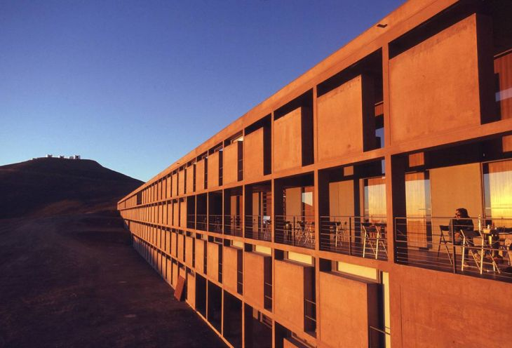 The laboratory of system engineers in the desert at sunset